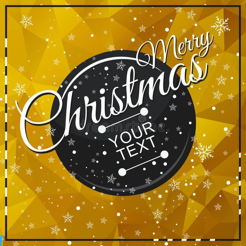 Χρυσή κάρτα τριγώνων christmass απεικόνιση αποθεμάτων