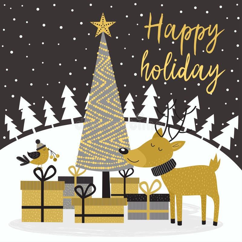 Χρυσή κάρτα Χαρούμενα Χριστούγεννας με τα ελάφια και τα δώρα ελεύθερη απεικόνιση δικαιώματος