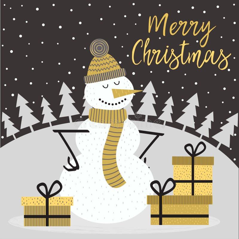 Χρυσή κάρτα Χαρούμενα Χριστούγεννας με το χιονάνθρωπο διανυσματική απεικόνιση