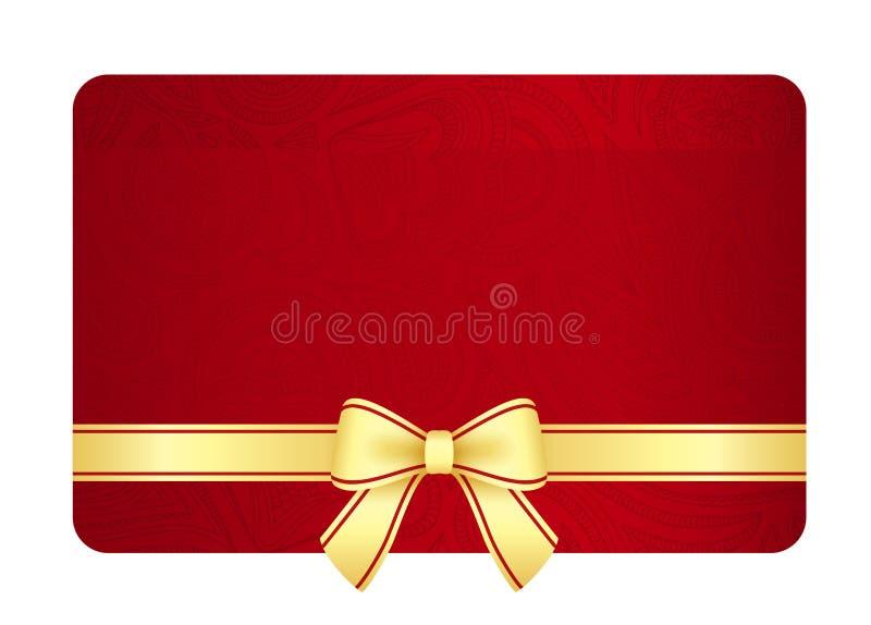 Χρυσή κάρτα δώρων με την κόκκινη κορδέλλα και τρύγος floral ελεύθερη απεικόνιση δικαιώματος