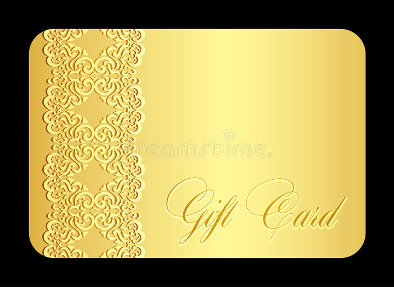 Χρυσή κάρτα δώρων πολυτέλειας με τη μίμηση της δαντέλλας ελεύθερη απεικόνιση δικαιώματος