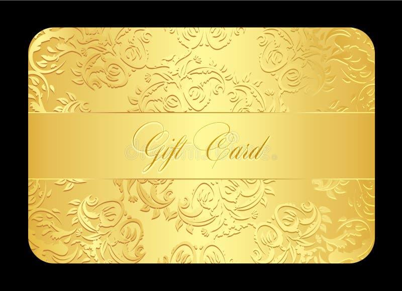 Χρυσή κάρτα δώρων πολυτέλειας με τη στρογγυλευμένη δαντέλλα ελεύθερη απεικόνιση δικαιώματος