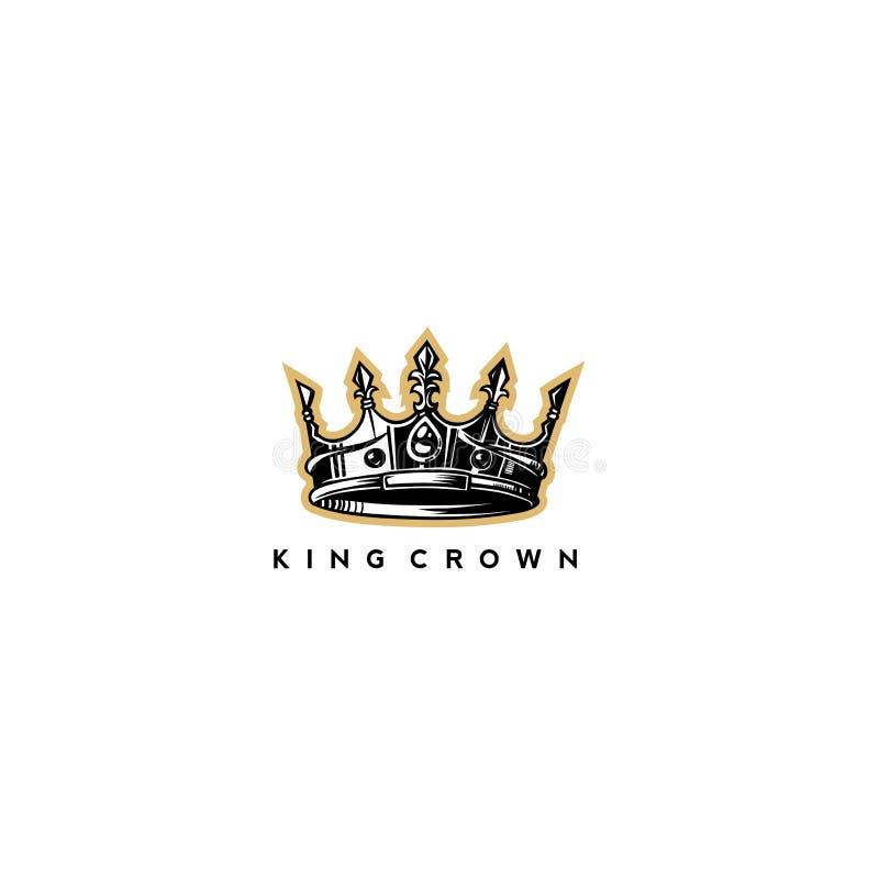 Χρυσή κίτρινη διανυσματική απεικόνιση λογότυπων κορωνών βασιλιάδων διανυσματική απεικόνιση