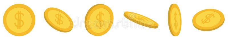 Χρυσή καθορισμένη γραμμή εικονιδίων νομισμάτων τρισδιάστατη Σημάδι δολαρίων χρυσή ιδιοκτησία βασικών πλήκτρων επιχειρησιακής έννο ελεύθερη απεικόνιση δικαιώματος