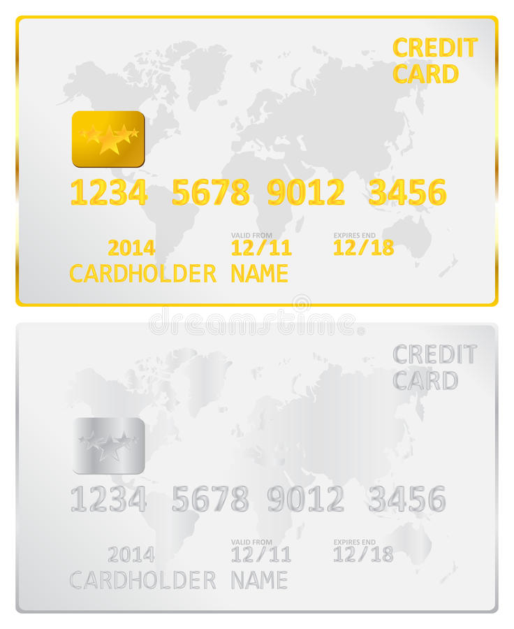 Χρυσή και ασημένια πιστωτική κάρτα διανυσματική απεικόνιση