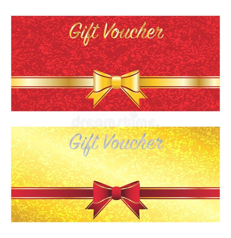 Χρυσή και κόκκινη κάρτα αποδείξεων δώρων διανυσματική απεικόνιση