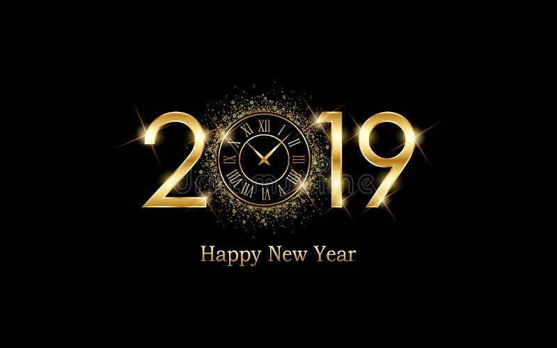 Χρυσή καλή χρονιά το 2019 και το πρόσωπο ρολογιών με την έκρηξη ακτινοβολούν στο μαύρο υπόβαθρο χρώματος απεικόνιση αποθεμάτων