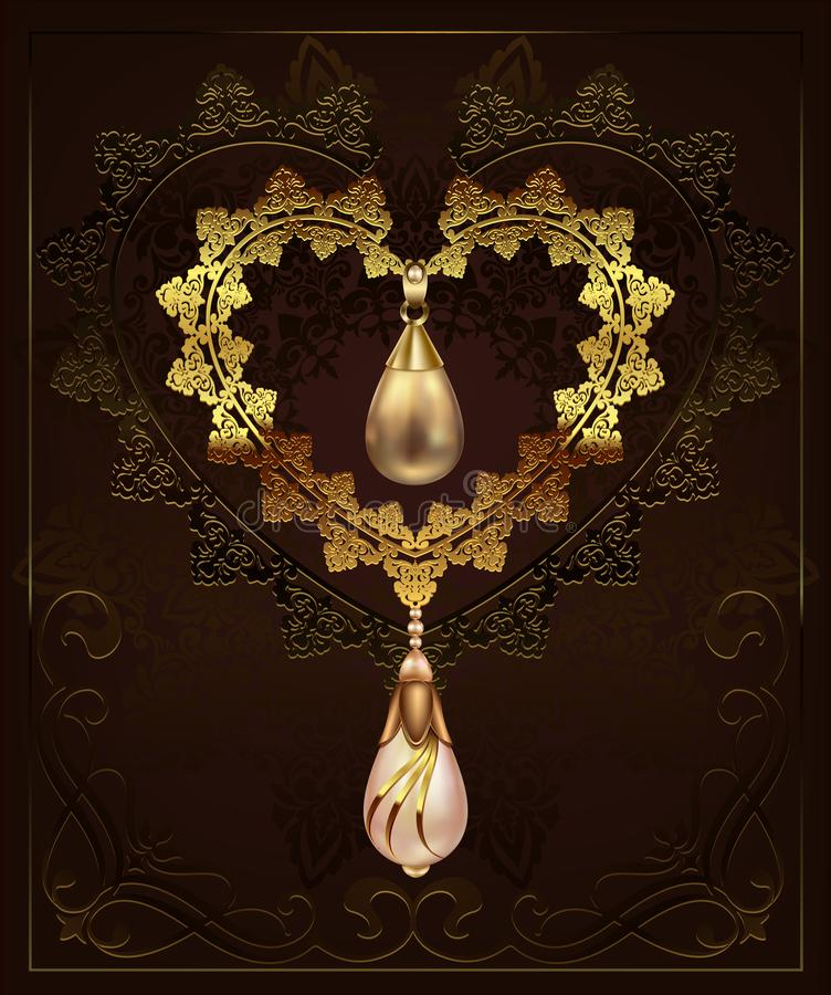 Χρυσή καρδιά ντεκόρ με τα διαμάντια χαλικιών κοσμήματος σε ένα floral υπόβαθρο με τη διακόσμηση deco τέχνης διανυσματική απεικόνιση