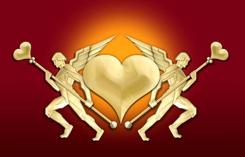χρυσή καρδιά πλαισίων deco τέχν&et ελεύθερη απεικόνιση δικαιώματος