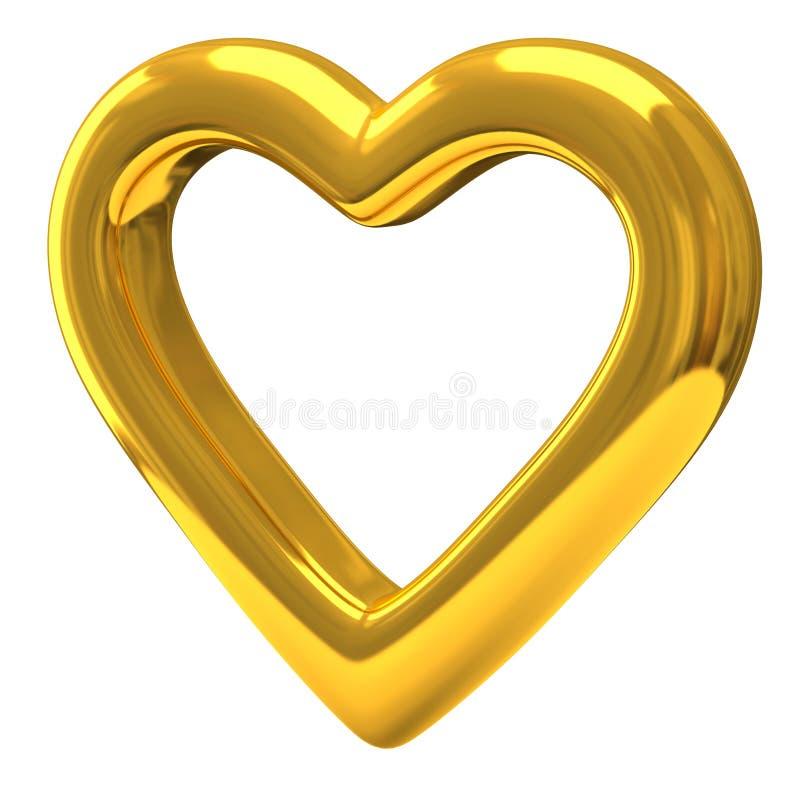 Χρυσή καρδιά τρισδιάστατη ελεύθερη απεικόνιση δικαιώματος