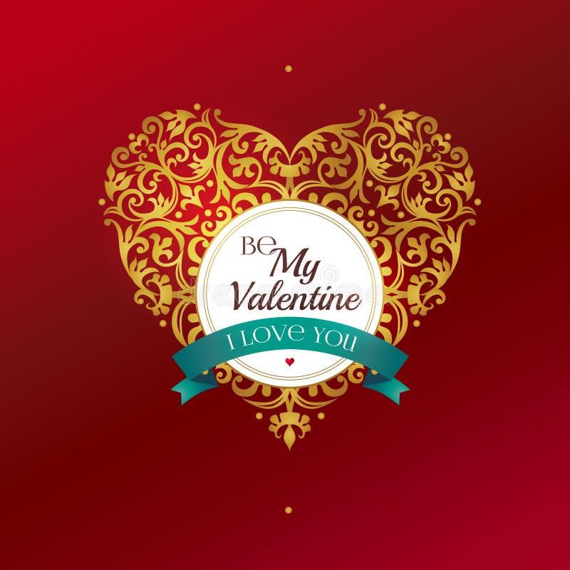 Χρυσή καρδιά, χαιρετισμοί ημέρας βαλεντίνων ` s απεικόνιση αποθεμάτων