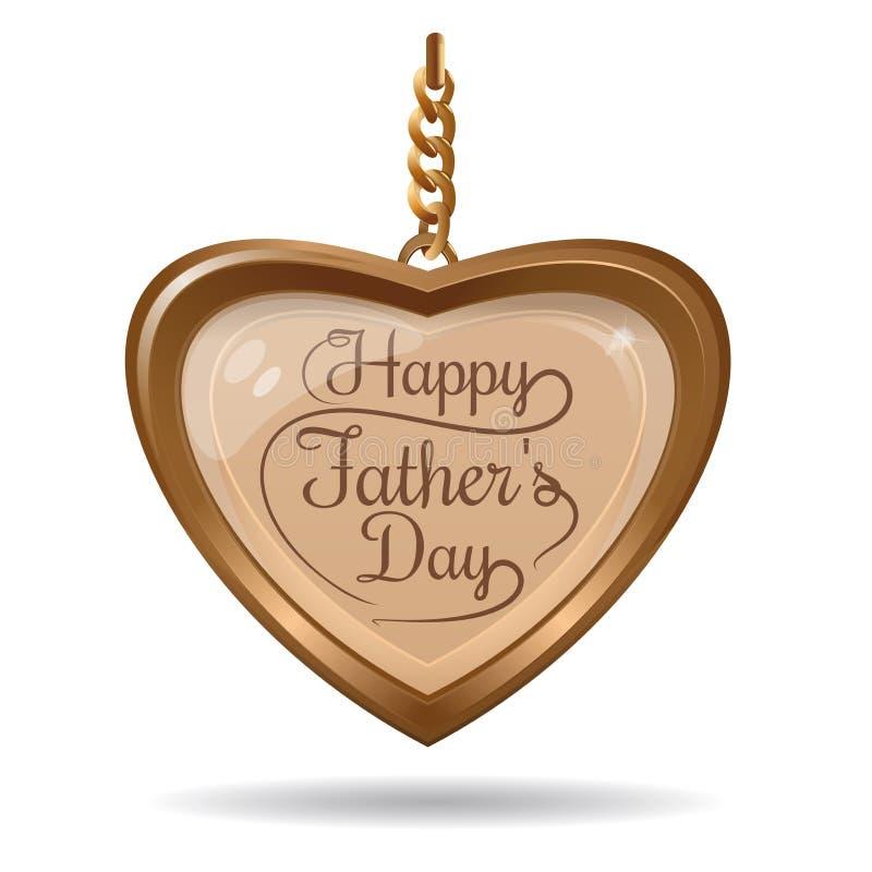 Χρυσή καρδιά με την επιγραφή - ευτυχής ημέρα πατέρων διανυσματική απεικόνιση