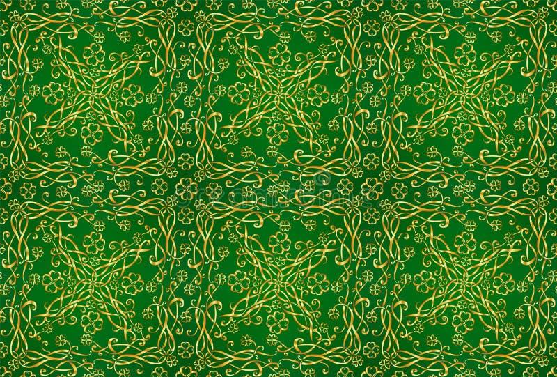Χρυσή κελτική διακόσμηση με τα triskels και τα τριφύλλια τέσσερις-φύλλων στο πράσινο υπόβαθρο, διανυσματικό άνευ ραφής σχέδιο απεικόνιση αποθεμάτων