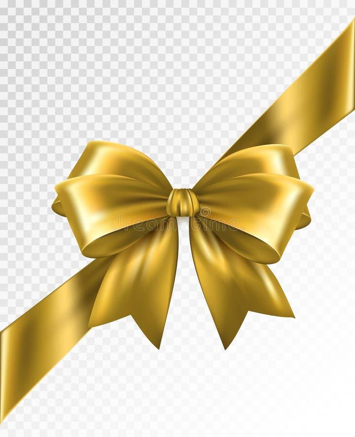 Χρυσή κορδέλλα γωνιών με το τόξο - διανυσματικό στοιχείο σχεδίου απεικόνιση αποθεμάτων