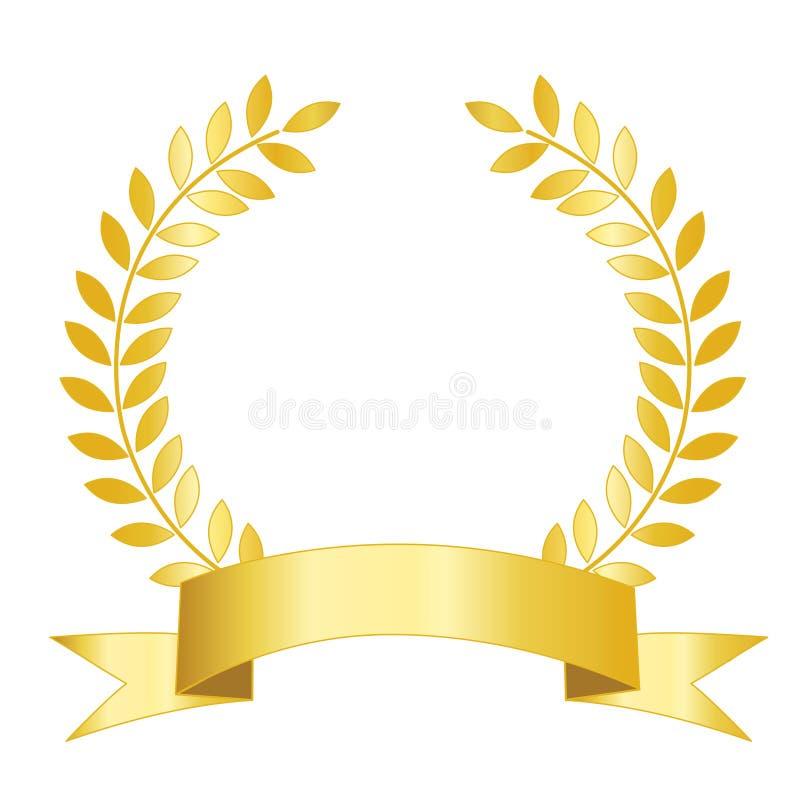 χρυσή κορδέλλα δαφνών ελεύθερη απεικόνιση δικαιώματος