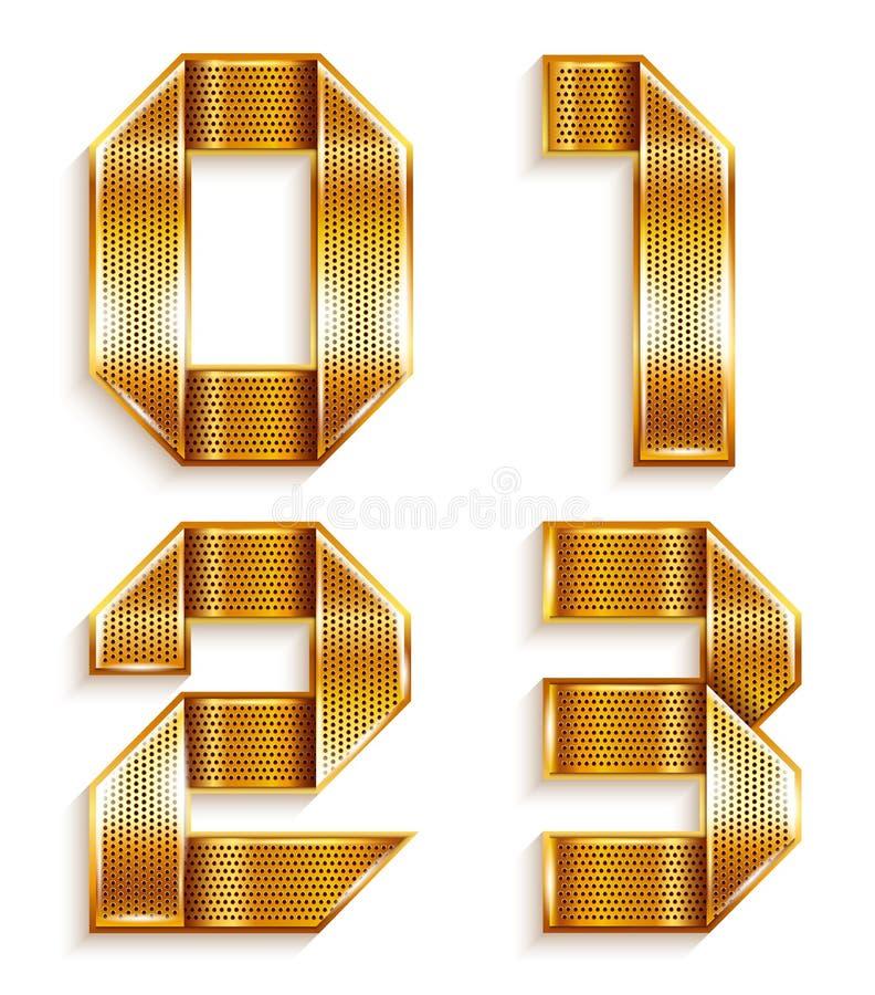 Χρυσή κορδέλλα μετάλλων αριθμού - 0.1.2.3 ελεύθερη απεικόνιση δικαιώματος