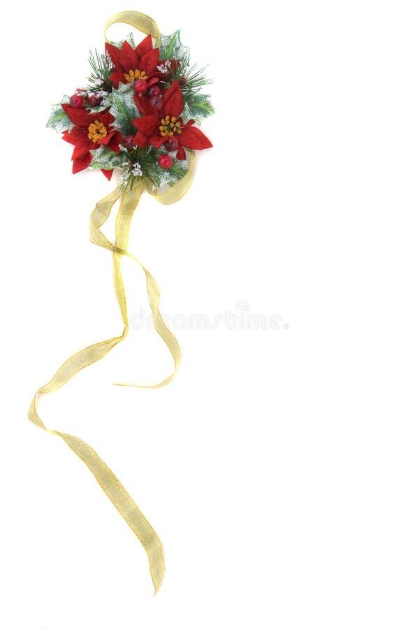χρυσή κορδέλλα poinsettia διακο&s στοκ εικόνες