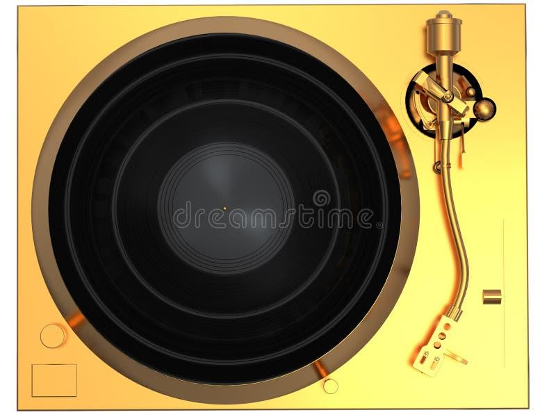 χρυσή κορυφαία όψη περιστροφικών πλακών απεικόνιση αποθεμάτων