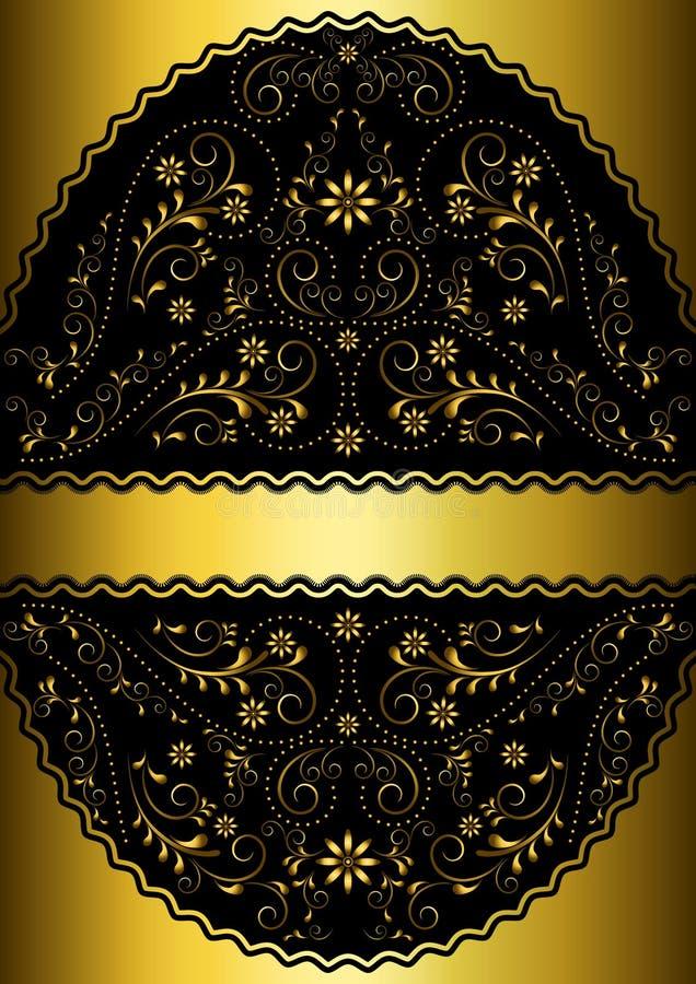 Χρυσή κορδέλλα στο χρυσό κυματιστό δικτυωτό floral ωοειδές πλαίσιο ελεύθερη απεικόνιση δικαιώματος