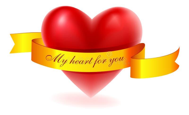 χρυσή κόκκινη κορδέλλα καρδιών διανυσματική απεικόνιση