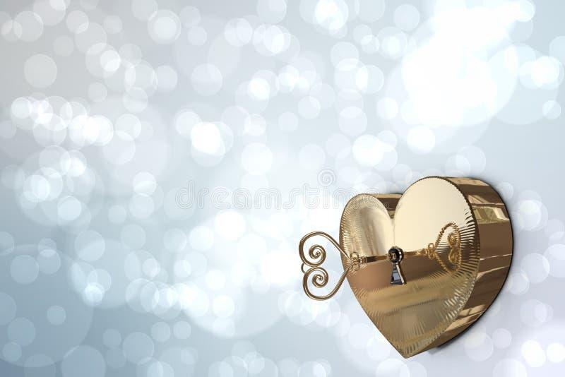Χρυσή κλειδαριά καρδιών με το κλειδί απεικόνιση αποθεμάτων