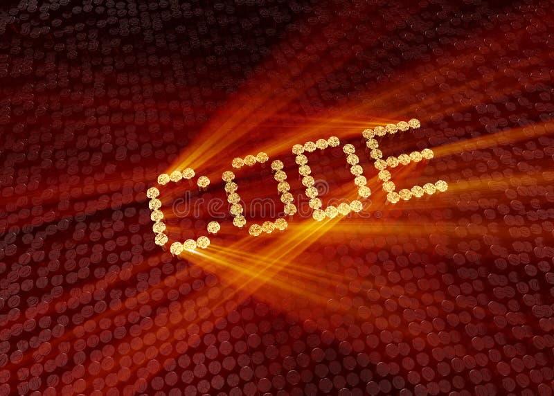 Χρυσή λέξη κώδικα με το ψηφιακό υπόβαθρο στοκ εικόνες