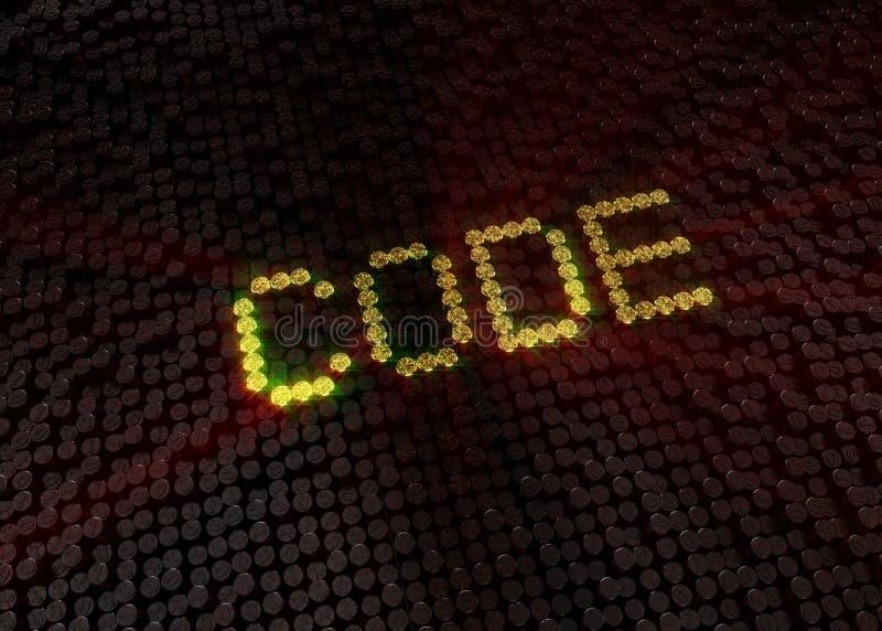 Χρυσή λέξη κώδικα με το ψηφιακό υπόβαθρο στοκ εικόνα με δικαίωμα ελεύθερης χρήσης
