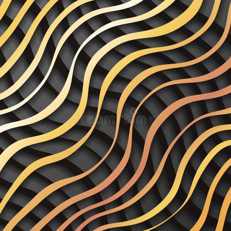 Χρυσή μαύρη εγγράφου διανυσματική απεικόνιση υποβάθρου σχεδίου προτύπων κυμάτων τρισδιάστατη ρεαλιστική ελεύθερη απεικόνιση δικαιώματος