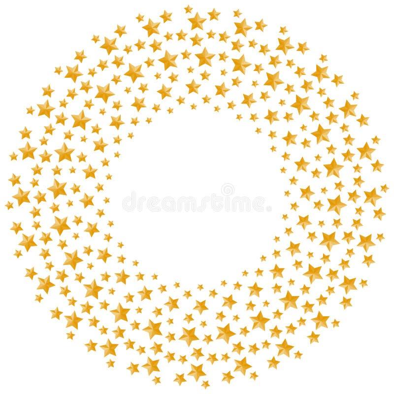 Χρυσή μορφή κύκλων σχεδίων χρώματος αστεριών Χριστουγέννων απεικόνιση αποθεμάτων