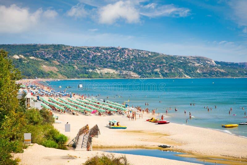 Χρυσή παραλία άμμων στη Βουλγαρία. στοκ εικόνες