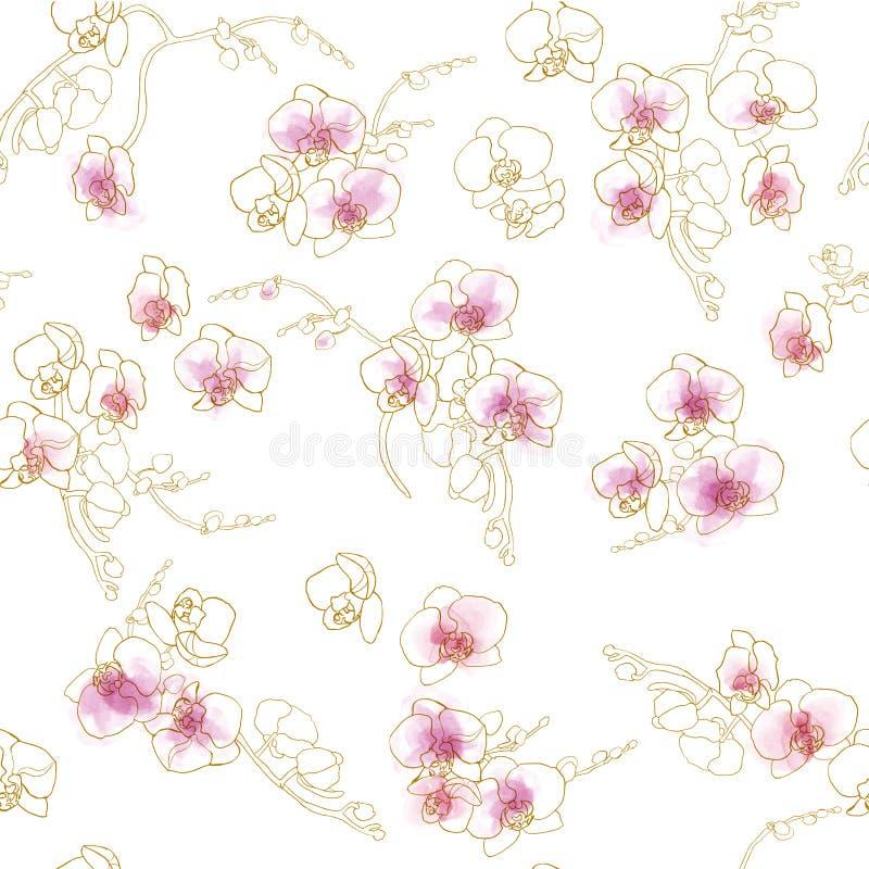 Χρυσή περίληψη ορχιδεών, ρόδινο watercolor, άνευ ραφής σχέδιο απεικόνιση αποθεμάτων