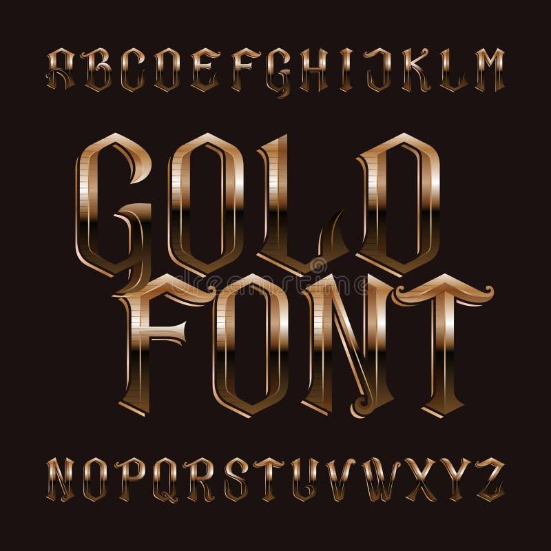 Χρυσή πηγή αλφάβητου Εκλεκτής ποιότητας περίκομψες χρυσές επιστολές διανυσματική απεικόνιση