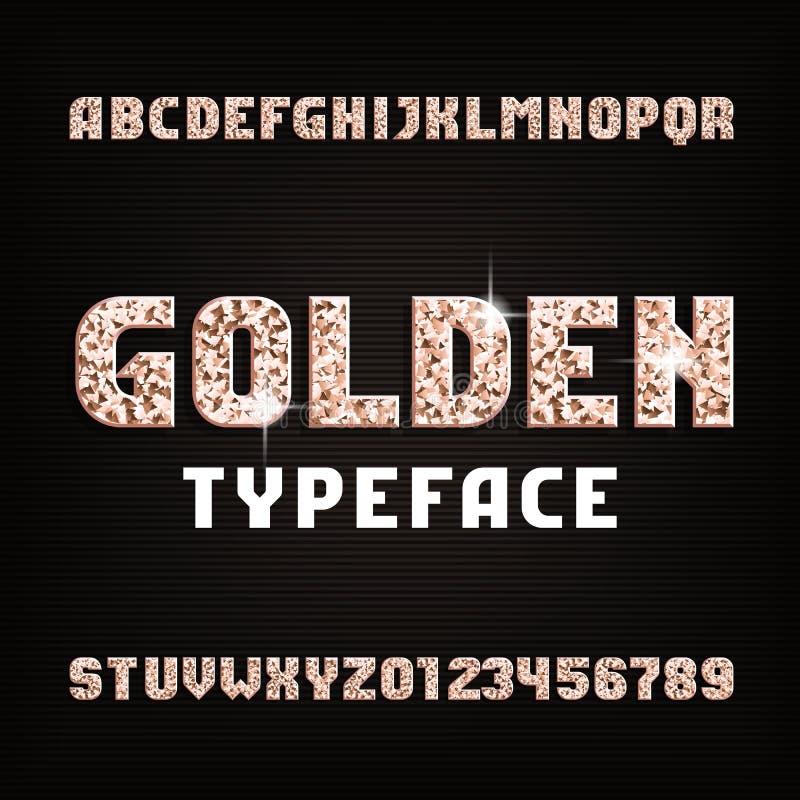 Χρυσή πηγή αλφάβητου Το μέταλλο ακτινοβολεί λαμπροί επιστολές και αριθμοί ελεύθερη απεικόνιση δικαιώματος