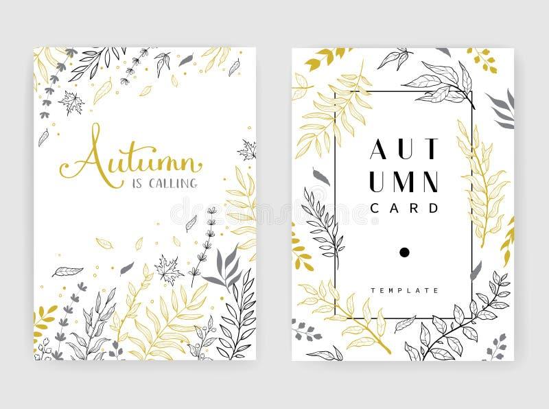 Χρυσή πρόσκληση χρώματος με τους floral κλάδους Τα πρότυπα καρτών φθινοπώρου για εκτός από την ημερομηνία, γάμος προσκαλούν, ευχε διανυσματική απεικόνιση