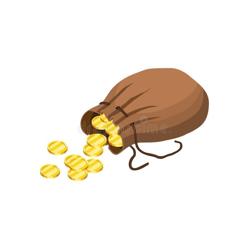 Χρυσή πτώση νομισμάτων από το σάκο ελεύθερη απεικόνιση δικαιώματος