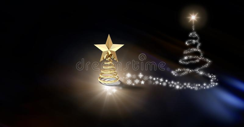 Χρυσή πυράκτωση μορφής σχεδίων δέντρων αστεριών και Snowflake χριστουγεννιάτικων δέντρων διανυσματική απεικόνιση