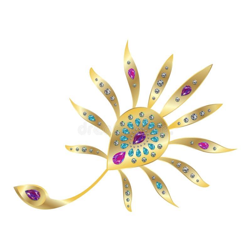 Χρυσή πόρπη φτερών Peacock με τους πολύτιμους λίθους ελεύθερη απεικόνιση δικαιώματος