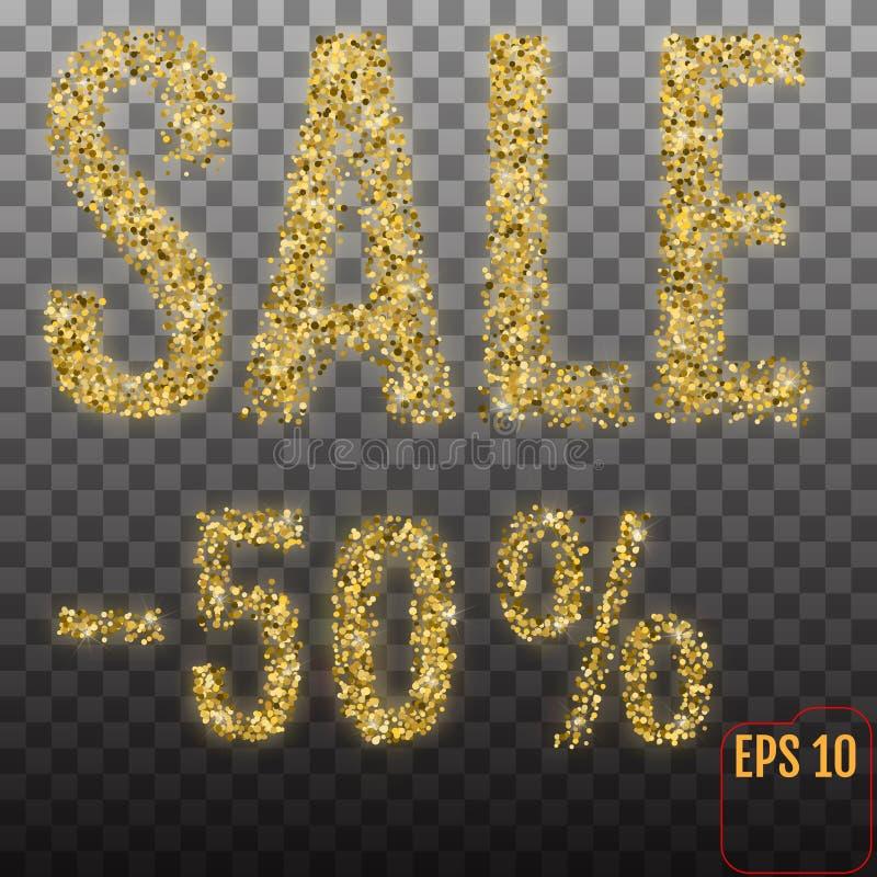 Χρυσή πώληση 50 τοις εκατό Χρυσή πώληση 50% τοις εκατό στη διαφανή ΤΣΕ διανυσματική απεικόνιση