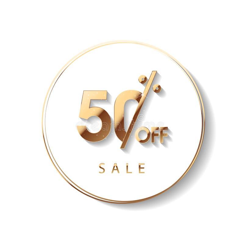 Χρυσή πώληση 50 τοις εκατό Χρυσή πώληση 50 τοις εκατό στο άσπρο υπόβαθρο Λάμψτε salling υπόβαθρο για το ιπτάμενο, αφίσα, αγορές απεικόνιση αποθεμάτων