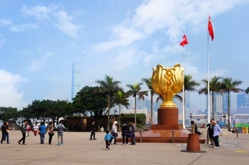 Χρυσή πλατεία Bauhinia στοκ φωτογραφία με δικαίωμα ελεύθερης χρήσης