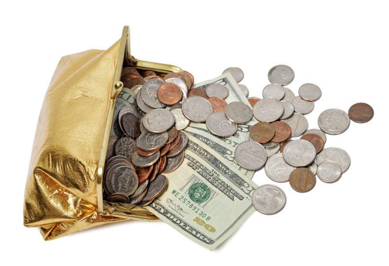 Χρυσή ροή μετρητών τσαντών νομισμάτων στοκ εικόνες