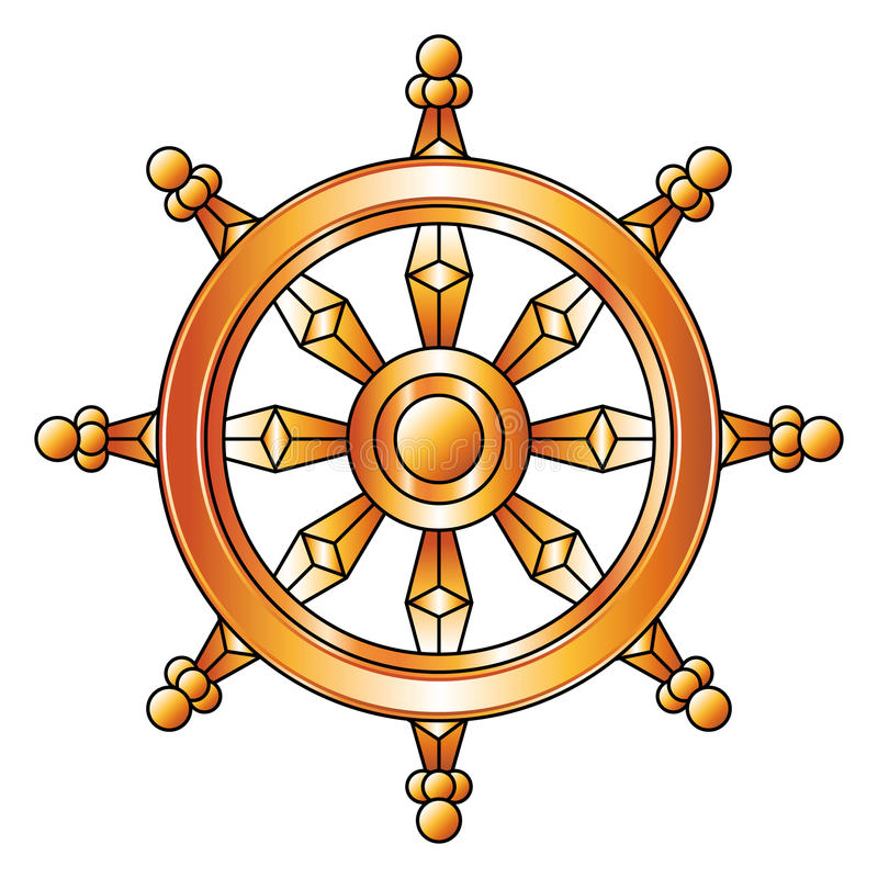 Χρυσή ρόδα Dharma Σύμβολο θρησκείας βουδισμού διανυσματική απεικόνιση