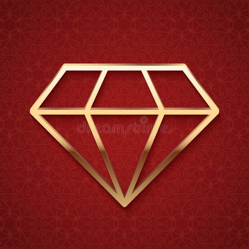 Χρυσή σκιαγραφία διαμαντιών διανυσματική απεικόνιση