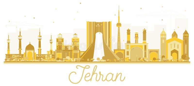 Χρυσή σκιαγραφία οριζόντων πόλεων της Τεχεράνης Ιράν ελεύθερη απεικόνιση δικαιώματος