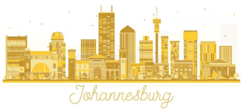 Χρυσή σκιαγραφία οριζόντων πόλεων του Γιοχάνεσμπουργκ Νότια Αφρική διανυσματική απεικόνιση
