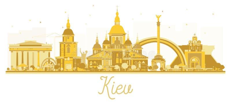 Χρυσή σκιαγραφία οριζόντων πόλεων του Κίεβου Ουκρανία ελεύθερη απεικόνιση δικαιώματος