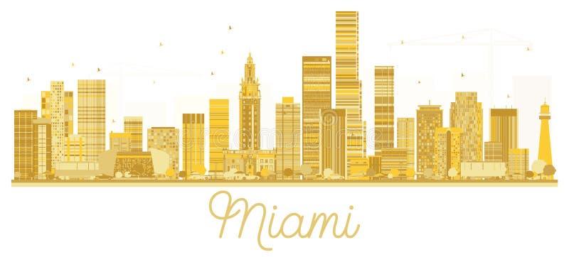 Χρυσή σκιαγραφία οριζόντων πόλεων του Μαϊάμι ΗΠΑ ελεύθερη απεικόνιση δικαιώματος