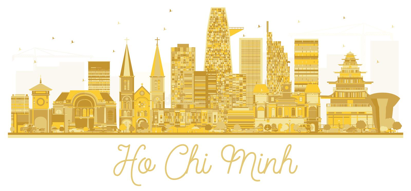 Χρυσή σκιαγραφία οριζόντων πόλεων του Ho Chi Minh Βιετνάμ ελεύθερη απεικόνιση δικαιώματος