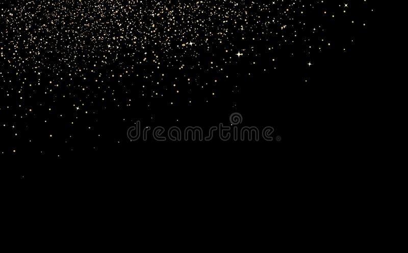 Χρυσή σκόνη κομφετί, διασπορά με τα αστέρια που πέφτουν, έννοια σύστασης κομμάτων διακοπών διακοσμήσεων εορτασμού έκρηξης στη μαύ διανυσματική απεικόνιση