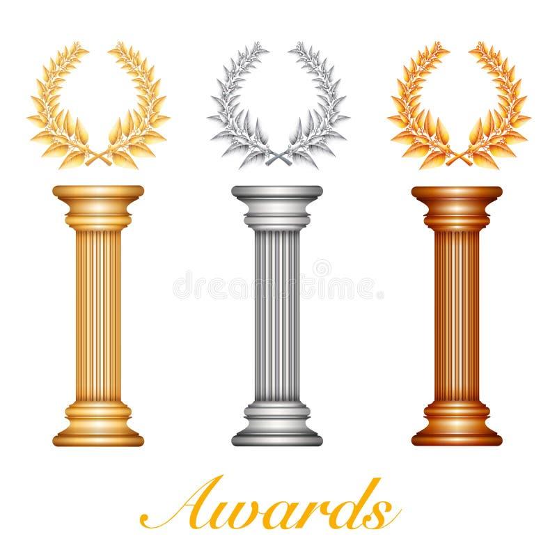 Χρυσή στήλη βραβείων ασημιών και χαλκού με τη δάφνη wr διανυσματική απεικόνιση